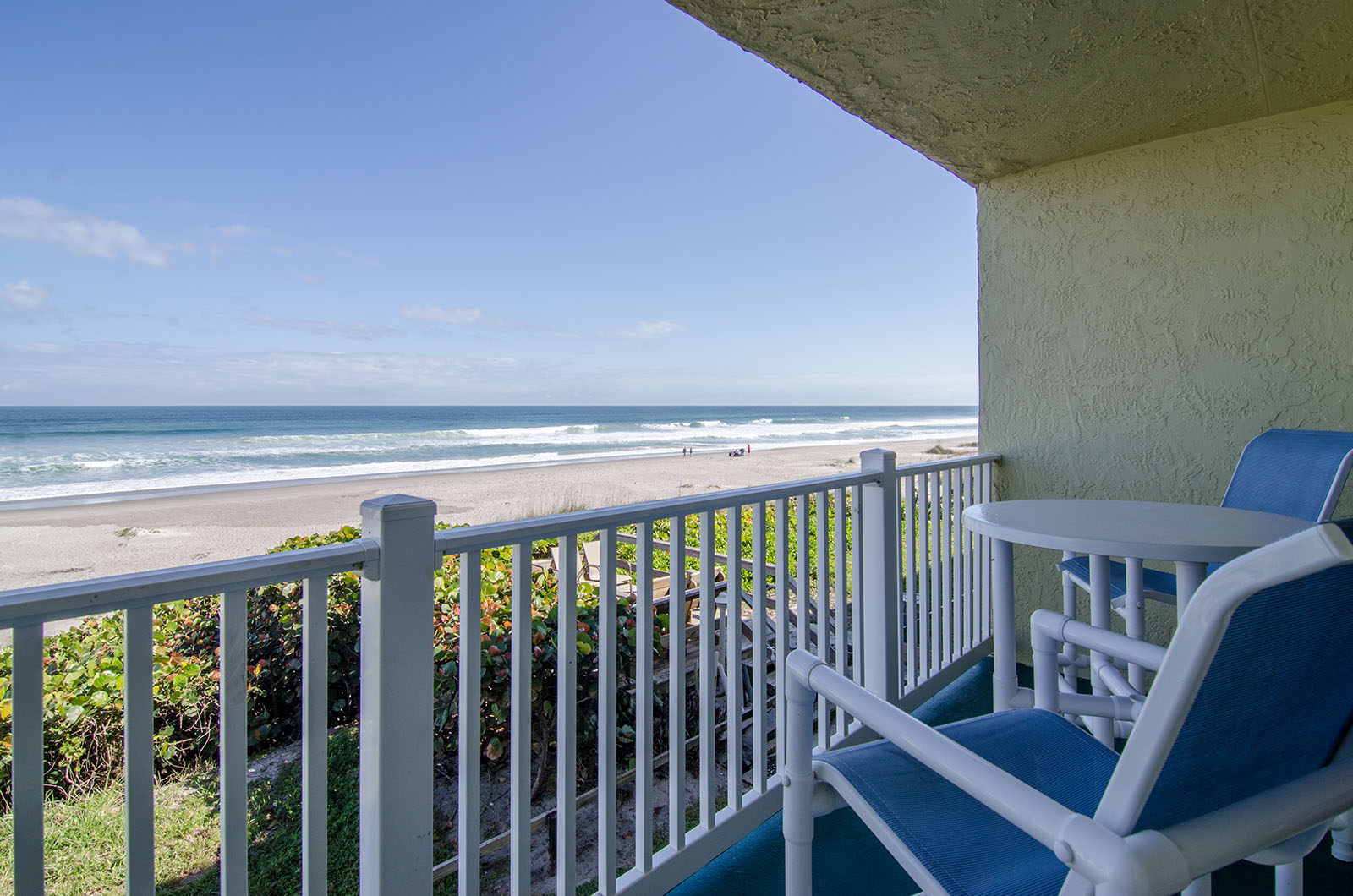 View of Space Coast beach from Tuckaway Shores Resort Suite